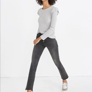 Madewell ribbed ruffle sleeve sweater gray size L